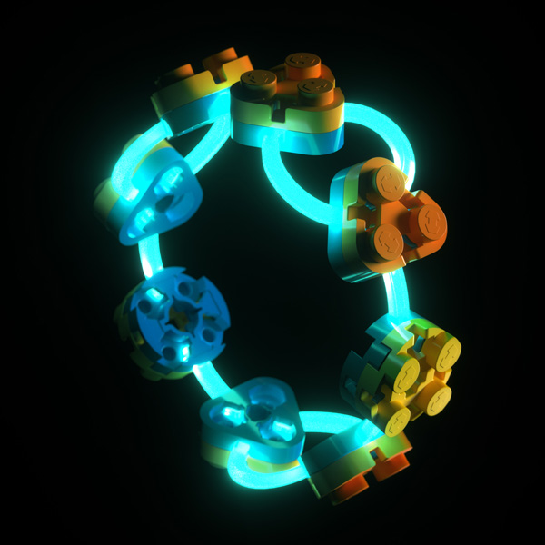 Flexo bracelet with circular and triangular bricks and glow in the dark tendons